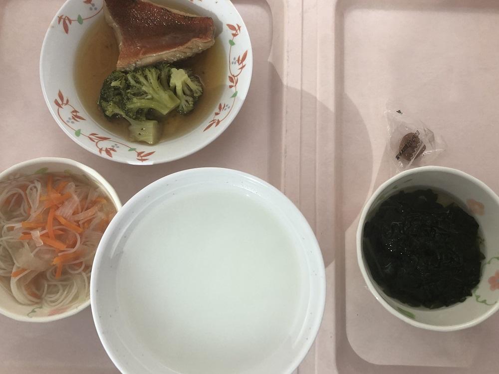 入院8日目の阪大病院の昼ごはん(五分がゆ)