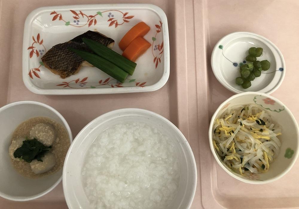 入院9日目の阪大病院の昼ごはん(全がゆ)