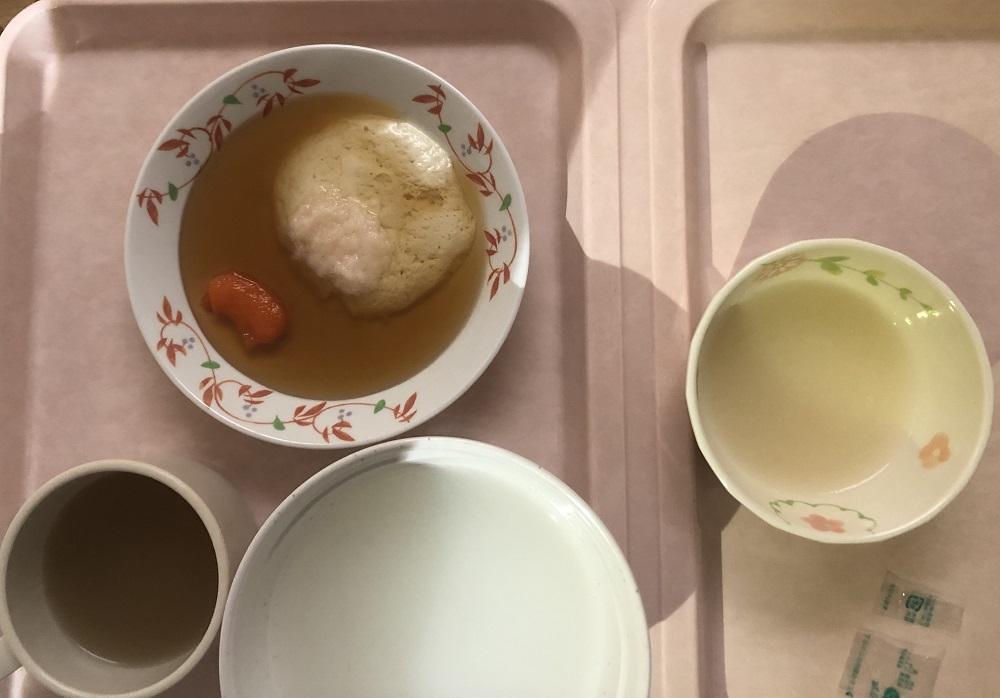 入院7日目の阪大病院の昼ごはん(三分がゆ)